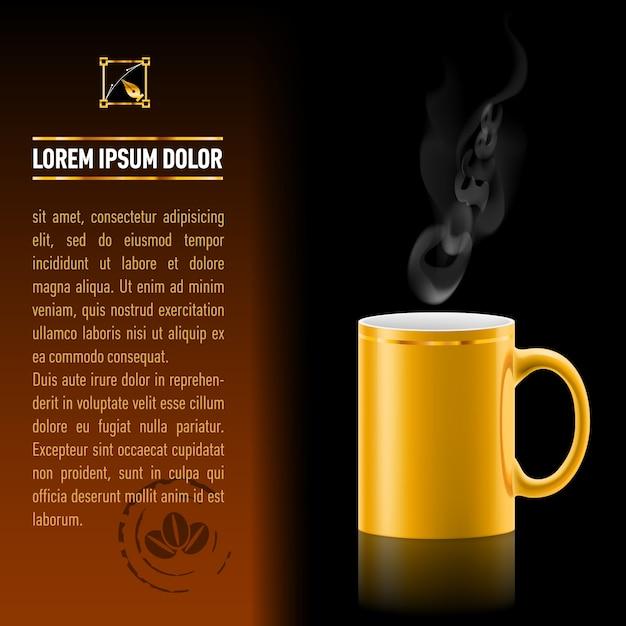 Koffiekopje achtergrond sjabloon Premium Vector