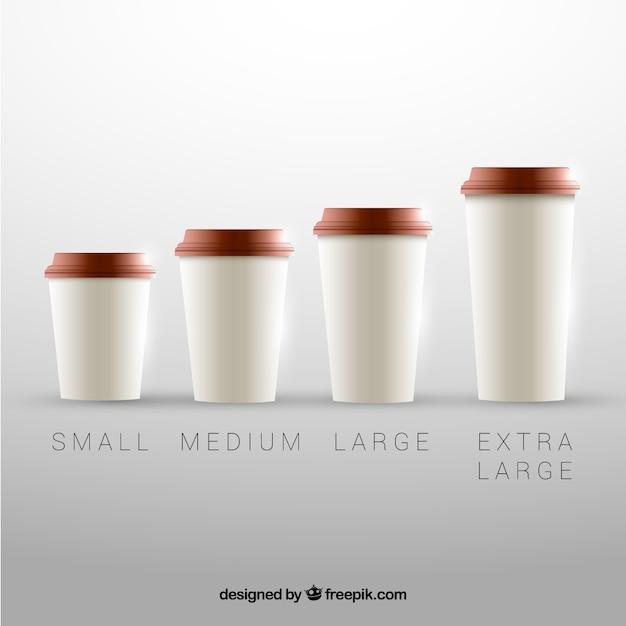 Koffiekopje collectie van verschillende maten Gratis Vector