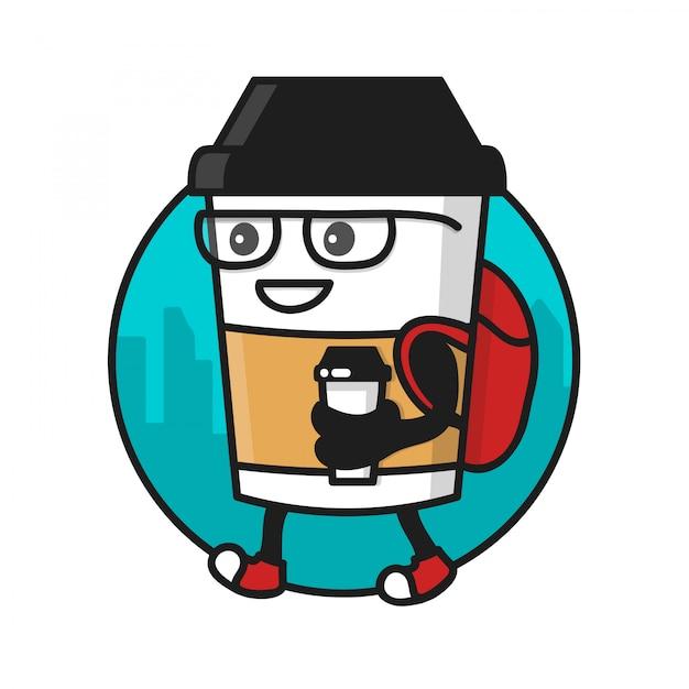 Koffiekopje karakter met koffie papieren beker wandelen. logo sjabloon, badge voor koffie straat winkel Premium Vector