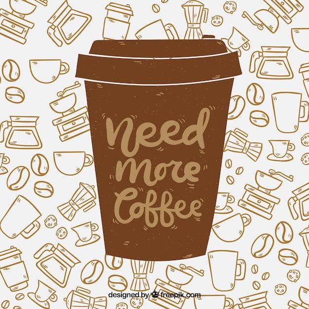 Koffiekopje silhouet met belettering Gratis Vector