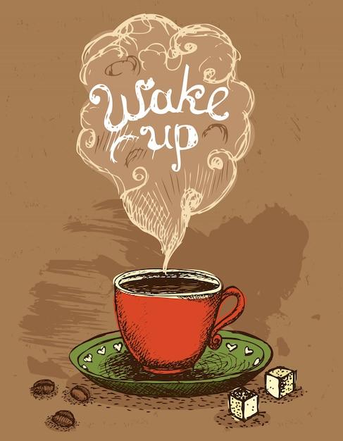 Koffiekopje wakker worden Gratis Vector