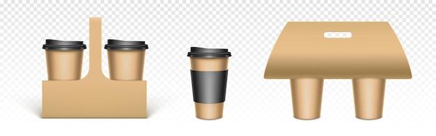 Koffiekopjes in houders van kraftpapier Gratis Vector