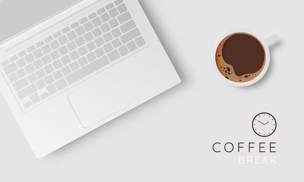 Koffiepauze achtergrond met koffiekopje en pastel kleurenschema Premium Vector