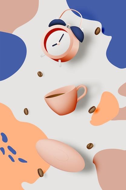 Koffiepauze achtergrond met koffiekopje en wekker en pastelkleurenschema Premium Vector