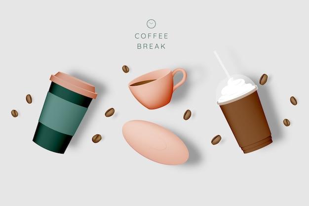 Koffiepauze achtergrond Premium Vector