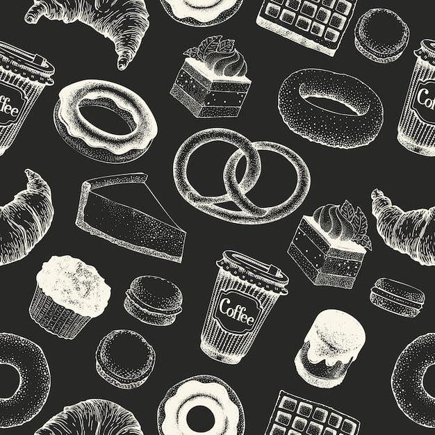 Koffiepauze hand getrokken naadloze patroon. retro stijl van eten Premium Vector