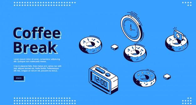 Koffiepauze isometrische bestemmingspagina, ontbijt Gratis Vector