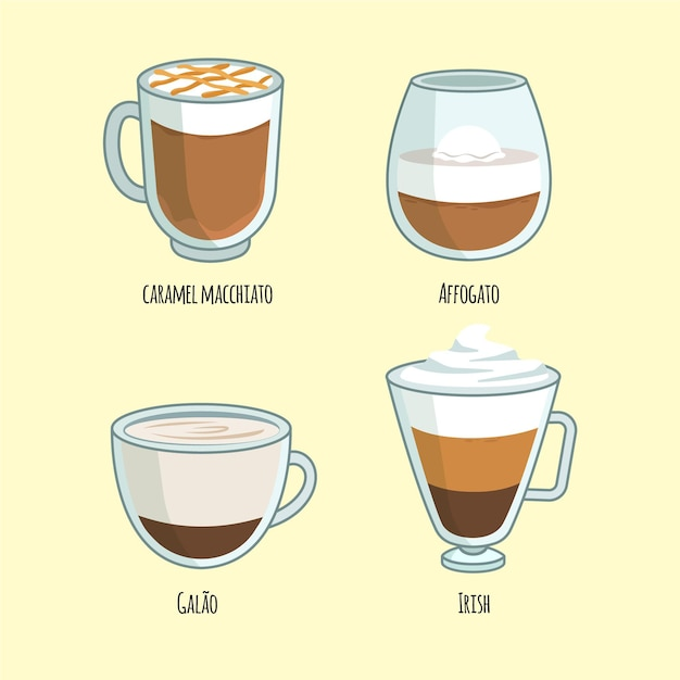 Koffiesoorten pack Gratis Vector