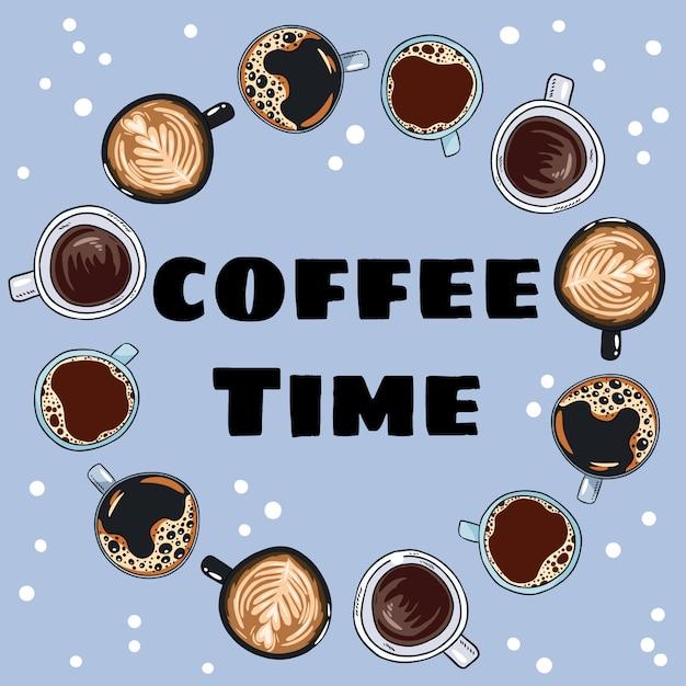 Koffietijd. decoratieve krans van koffiekopjes en mokken Premium Vector