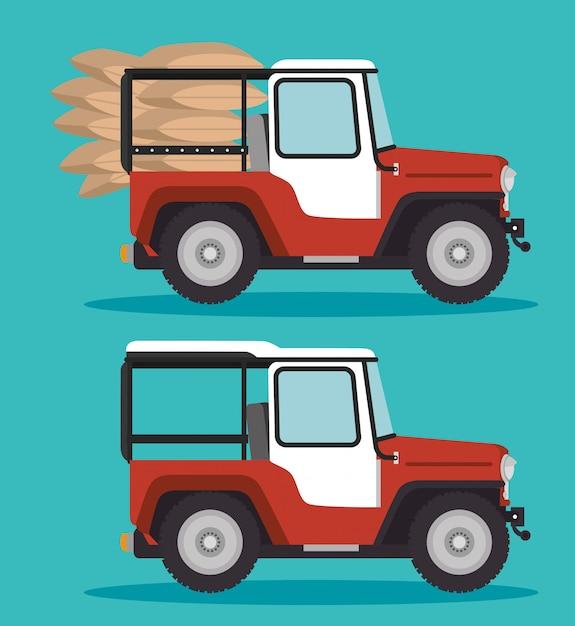 Koffietransport in jeep Gratis Vector