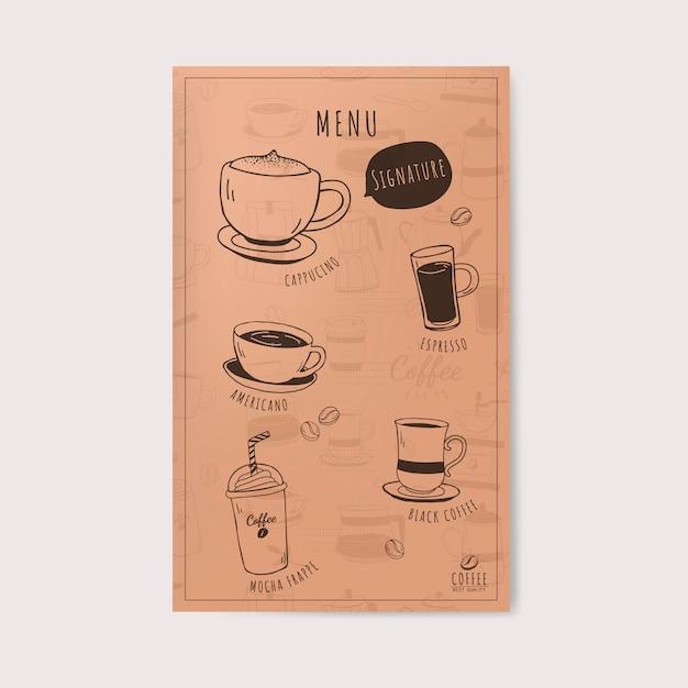 Koffiewinkel en de vector van het koffiemenu Gratis Vector