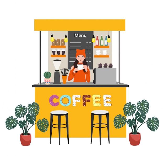 Koffiewinkel met barista die koffie maakt. moderne platte concept illustratie voor kleine bedrijven. Premium Vector