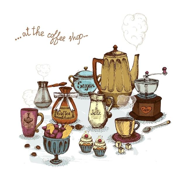 Koffiewinkel stilleven Gratis Vector