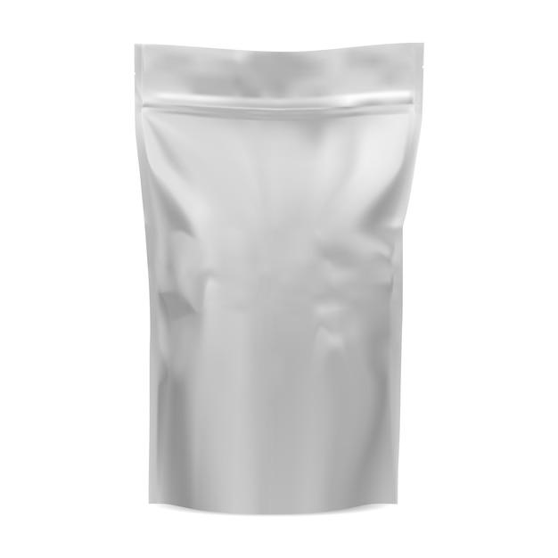 Koffiezak mockup. etui voor voedselfolie. 3d-vector pack Premium Vector