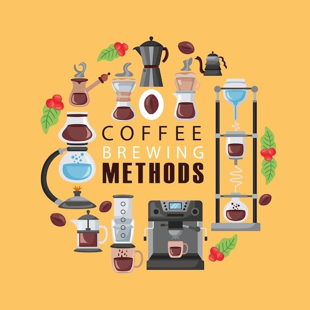 Koffiezetmethoden illustratie belettering en pictogrammen instellen Premium Vector