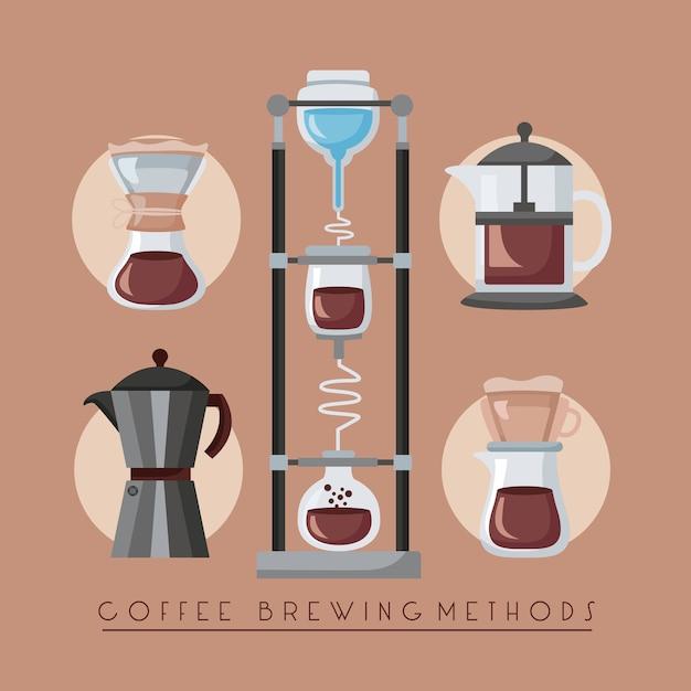 Koffiezetmethoden illustratie met set makers gebruiksvoorwerpen Premium Vector