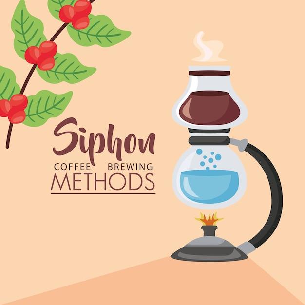 Koffiezetmethoden illustratie met sifonbrander en plant Premium Vector