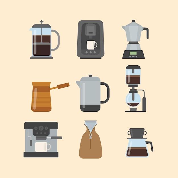 Koffiezetmethoden voor plat ontwerp Gratis Vector