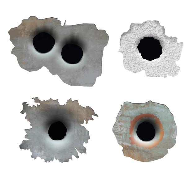 Kogelgat. verpletter beschadigd barstglas van een pistool, breekt stukken gebroken oppervlakkogellijnen Premium Vector