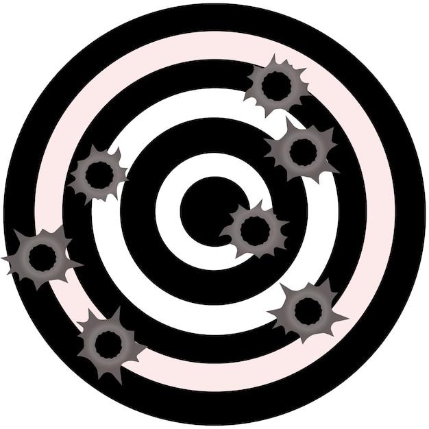 Kogelgaten. gun bullet holes in metalen muur. vuurschoteffect. schade illustratie Premium Vector