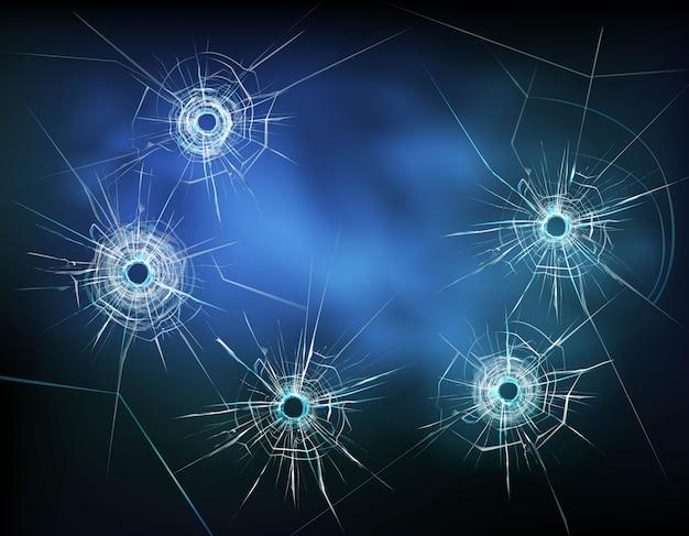 Kogelgaten in glas illustratie Gratis Vector