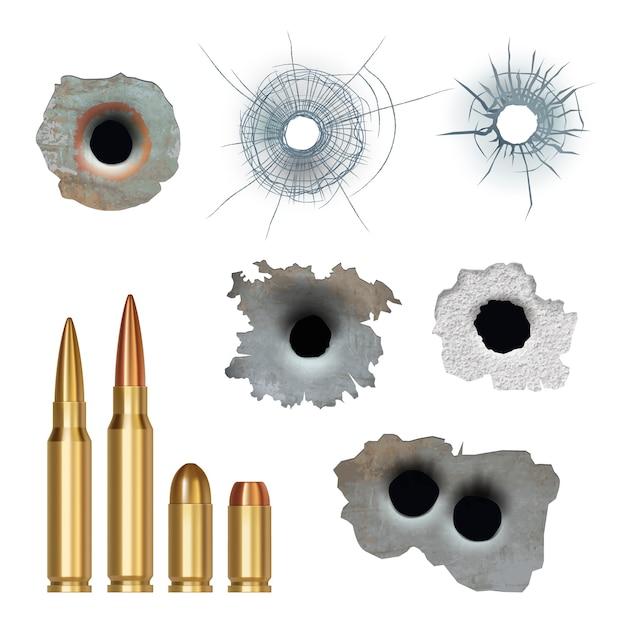 Kogels realistisch. beschadigde gebarsten pistoolgaten oppervlakken en kogels verschillende kaliber pantsergeweren collectie. illustratieschade door pistoolwapen, barst van kogel Premium Vector
