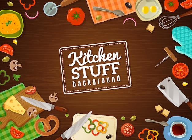 Koken achtergrond met keuken spullen Gratis Vector
