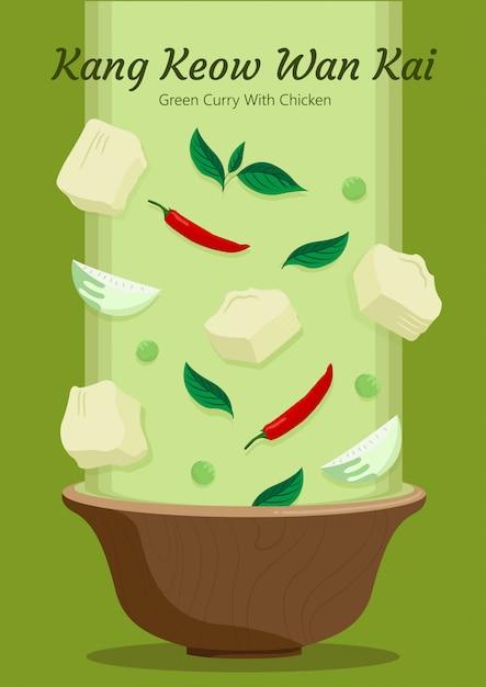 Koken gaeng keow wan kai. drop ingrediënten concept. Premium Vector