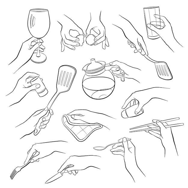 Koken handen contouren Premium Vector