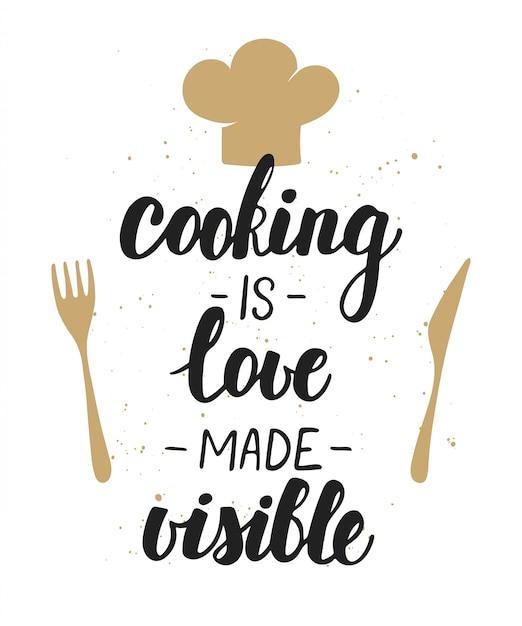 Koken is liefde zichtbaar maken, belettering. Premium Vector