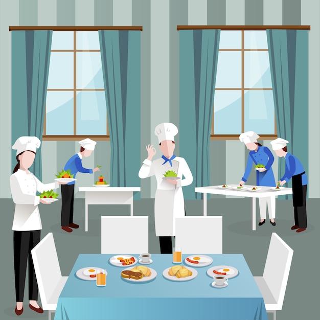 Koken mensen in restaurant samenstelling Gratis Vector