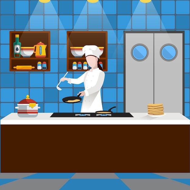 Koken mensen samenstelling met man die pannenkoeken in de keuken in een restaurant kookt Gratis Vector