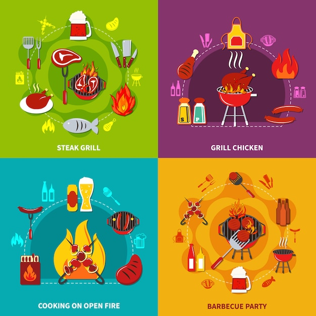 Koken op open vuur steak grill en grill chiken op barbecue partij Gratis Vector