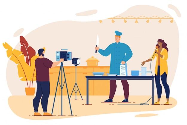 Koken tv-show met chef-kok, cameraman, interviewer Premium Vector