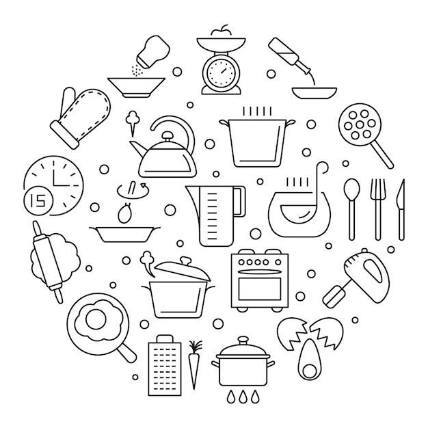 Koken voedsel en keuken gereedschap dunne lijn pictogrammen Premium Vector