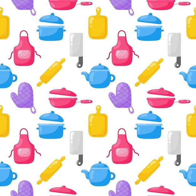 Koken voedsel naadloze patroon en keuken overzicht kleurrijke pictogrammen instellen op witte achtergrond. Premium Vector