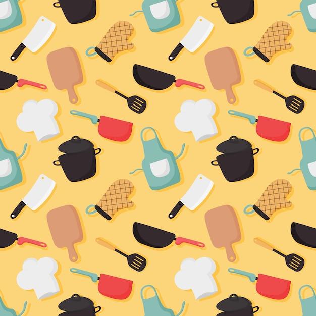 Koken voedsel naadloze patroon en keuken pictogrammen instellen op gele achtergrond. Premium Vector