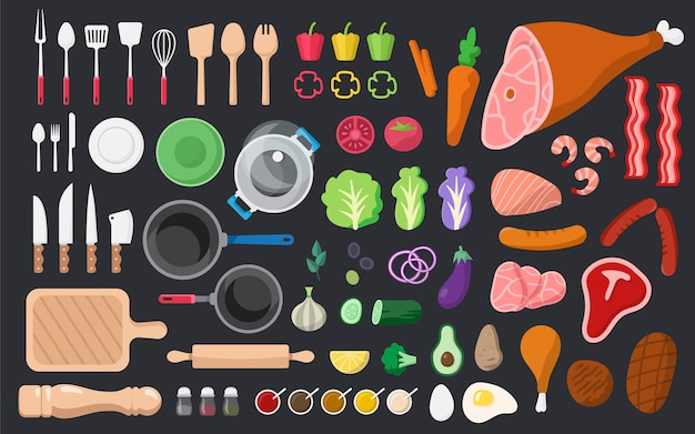 Kokende ingrediënten en hulpmiddelen vectorreeks Gratis Vector