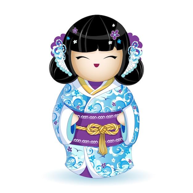 Kokeshipop in blauwe kimono met een zeegolfpatroon. Premium Vector