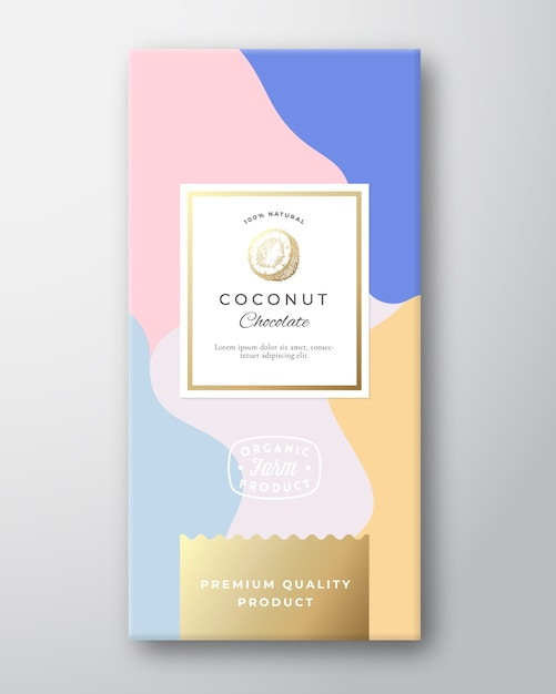 Kokos chocolade label. Gratis Vector
