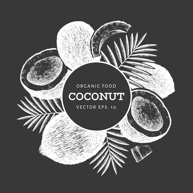 Kokos met palmbladeren. hand getekend vectorillustratie voedsel op schoolbord. gegraveerde stijl exotische plant. retro botanische tropische. Premium Vector