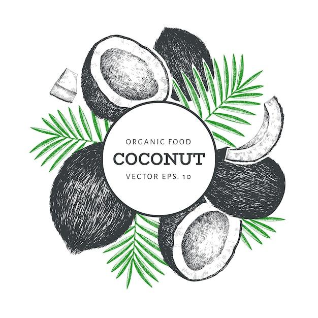 Kokosnoot met ontwerp van palmbladen Premium Vector