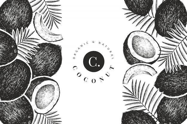 Kokosnoot met palm bladeren ontwerpsjabloon. hand getekend vector voedsel illustratie. gegraveerde stijl exotische plant. retro botanische tropische achtergrond. Premium Vector