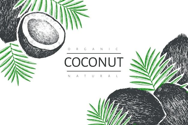 Kokosnoot met palm bladeren sjabloon. hand getekend voedsel illustratie. gegraveerde stijl exotische plant. vintage botanische tropische achtergrond. Premium Vector