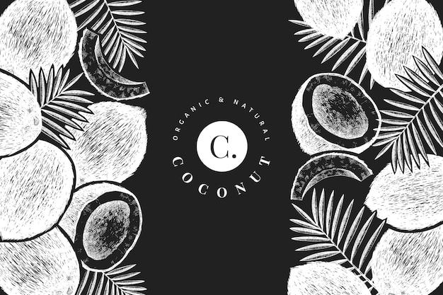 Kokosnoot met palm bladeren sjabloon. hand getekend voedsel illustratie op schoolbord. gegraveerde stijl exotische plant. botanische tropische achtergrond. Premium Vector