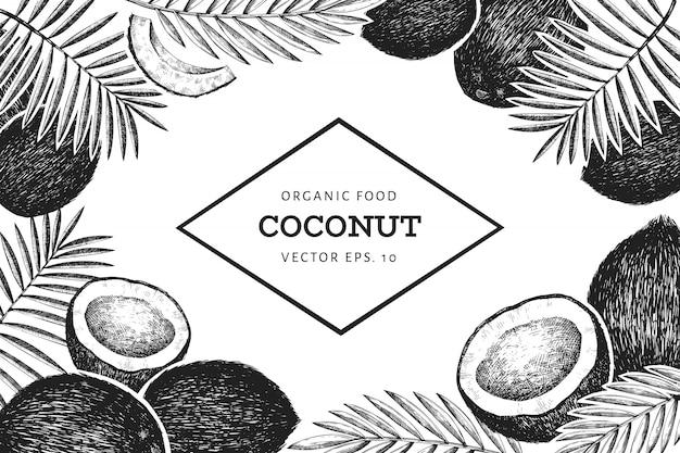 Kokosnoot met palmbladeren ontwerpsjabloon Premium Vector
