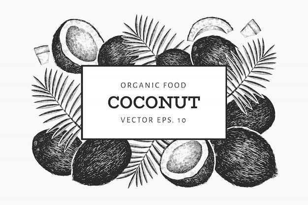 Kokosnoot met palmbladeren ontwerpsjabloon. Premium Vector