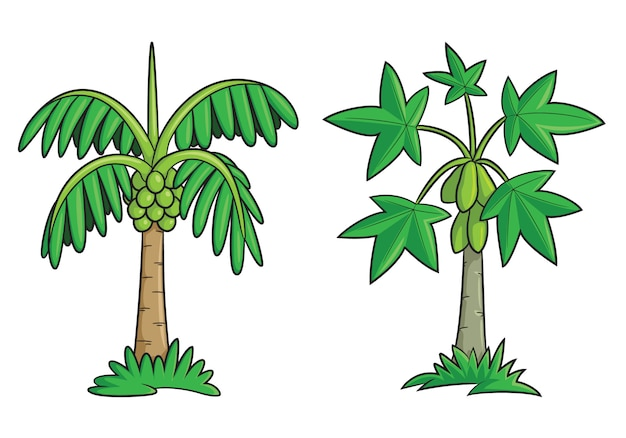 Kokospalm en papaya tree cartoon Premium Vector