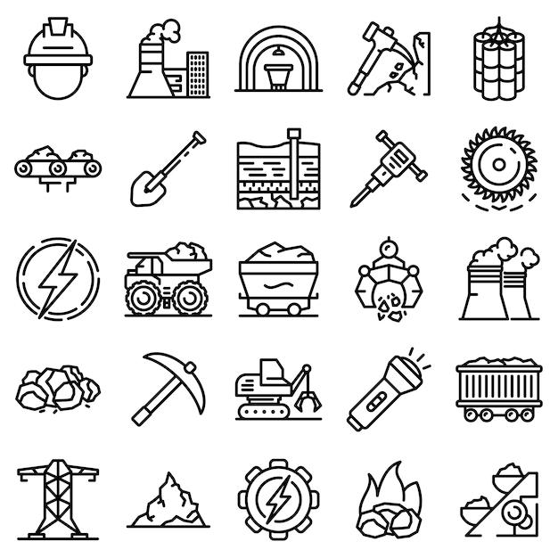 Kolen industrie pictogrammen instellen, kaderstijl Premium Vector
