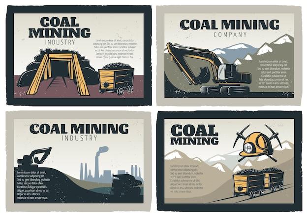 Kolenmijnbouw ontwerpen illustraties set Gratis Vector